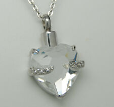 Crystal Heart Cremation Jewelry Clear Urn Necklace April Memorial Keepsake Urns