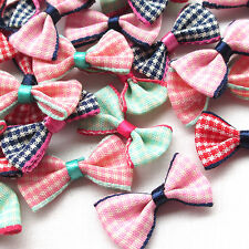 Mix 50PCS Grid Ribbon Flowers Bows Appliques Wedding Decor Lots