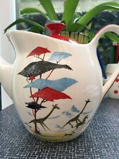 Crown Clarence Staffordshire Pottery Safari Pattern Teapot 60s Vtg Retro Kitsch