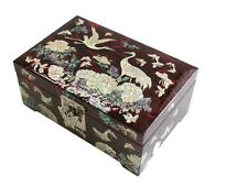 Lacquer inlaid mother of pearl peacock wood  trinket jewelry jewel box #2115