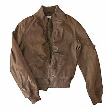 Winter Autumn Women's Genuine Laser Leather Short Jacket Ladys Coat Brown Size M