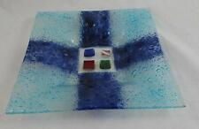 VINTAGE Venetian MURANO Aquamarine BLUE Bubble GLASS Square TRINKET Dish No2