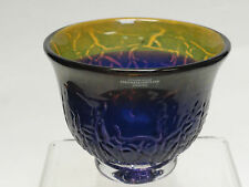 RARE SIGNED MASTERPIECE STUDIOGLAS STROMBERGSHYTTAN SWEDEN ART GLASS FOOTED BOWL