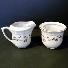 Farberware China Sugar Bowl & Creamer White Christmas #391 Katherine Babanovsky