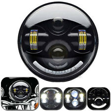 5.75 3/4 Motorcycle Black Projector Daymaker LED Light Bulb Headlight for Harley