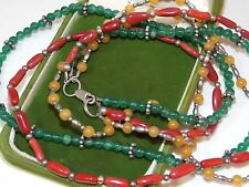 "Sterling Silver 3T Golden Agate Red Coral Emerald Green Bead 20"" Necklace 10g 4"