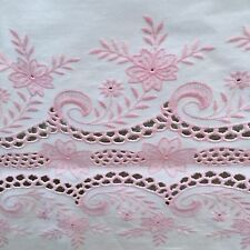 """Vintage Pink White Embroidered  Tablecloth Baby Girl Shower Easter63"""" X 90"""" Oval"""