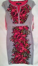 $129 NWT NineWest Dress 4 cotton floral grey red