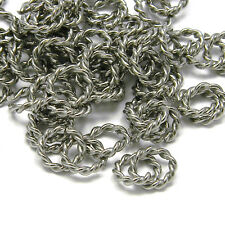 Lot of 20 Fancy Stainless Surgical Steel 8mm Round 16 Gauge Twisted Jumprings