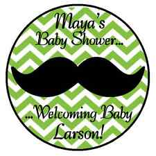GREEN MUSTACHE PERSONALIZED LITTLE MAN BABY SHOWER PARTY STICKERS LABELS FAVORS
