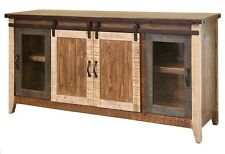 """Madeline Antique Multi Color 70"""" Rustic Sliding Barn Door TV Stand Console"""