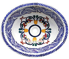 #120 LARGE BATHROOM SINK 21X17 MEXICAN CERAMIC HAND PAINT DROP IN UNDERMOUNT