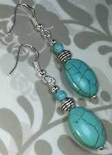 Antique Vintage Style Earrings Drop Turquoise Howlite Silver Hooks P&P Discount