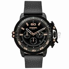 Diesel Authentic Watch DZ4409 Deadeye Black Dial Black Leather Strap 51mm Chrono