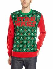 STAR WARS Men's Green Red Cotton Blend Ugly Christmas Special Sweater ~ Sz S NWT