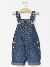 New Gap Kids Denim Blue Floral Print Jean Short Overalls size 4 5  NWT Girls XS