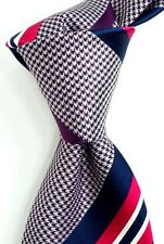 "$230 BRIONI Navy White Houndstooth Silk Neck Tie w/ Blue & Red Stripes 3.5""  NWT"