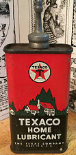 Vintage Texaco Home Lubricant Tin / Can - Lead Top - Gas & Oil Advertising