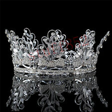 Silver Crystal Leaves Bowknots Rhinestone Full Crown Pageant Wedding Tiaras Band