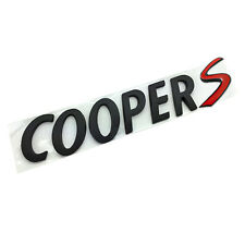 Cooper S MATT BLACK Letters Emblem Badge Rear Trunk Hatchback MINI Tailgate Boot
