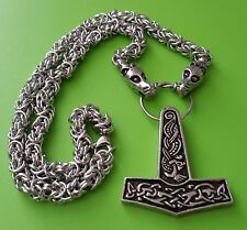 Viking Dragon Head Chain with Jorvik Thor's Hammer Pewter Pendant - Thor God