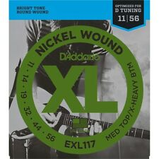 5 Sets Pack of D'Addario EXL117 11-56 Electric Guitar Strings Drop D Tuning