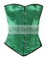 Full Steel Boned Victorian Overbust Bustier Shaper Gothic Green Satin Corset