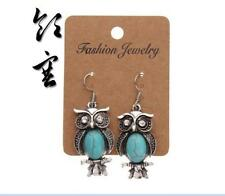 Fashion owl Bird Earrings Turquoise & Crystal Moonstone Owl Dangle Earrings