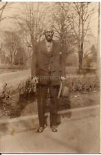 Handsome Stately Looking Black African American Man Holding Hat Vintage Photo