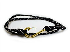 Unisex Adjustable Nautical Fish Hook Bracelet Black / Silver Maritime Rope Cord