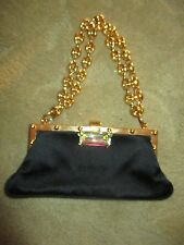 RARE AUTHENTIC GUCCI BLACK SATIN SILK CRYSTAL GUCCI LINK CHAIN EVENING BAG LQQK