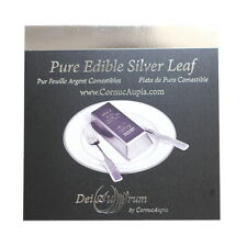 "DeiAurum: Pure Edible Silver Leaf Sheets, Booklet, 4""x4"", 25pcs, in Transfer Sh."