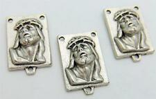 """MRT 3 Ecce Homo Face Of Christ Holy Rosary Centerpiece Silver Plate Italy 3/4"""""""