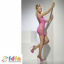 NEON PINK WIDE NET SLASHED CLUBWEAR DRESS ladies womens hosiery
