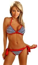 MICRO BRAZILIAN SCRUNCH BLUE STRIPED RED EDGE BIKINI UK 8-10 SELLER STOCK (96)