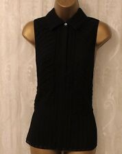Karen Millen Black Pintuck Silk Collar Button Front Top Blouse Shirt 16 44 New