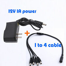 4 Split Power Cable +DC 12V1A Power Supply Adapter for CCTV Security Camera DVR