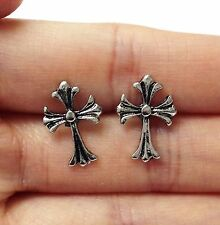 Lady Men Fashion Charm Tibet Silver Cross Alloy Stud Pin Earrings Gift