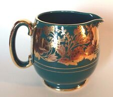 Sadler Green Pitcher With Raised Gold Moriage Decorations Pattern 1515K England