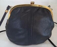SALISBURYS DARK BLUE LEATHER FRAME PURSE CLUTCH BAG HANDBAG