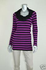 INC New Black Purple Striped Rayon Pullover Sweater MSRP $69 Petite Size L