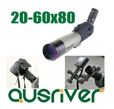 Celestron Waterproof 20-60x80 Spotting Scope 8-24mm Zoom Eyepiece Tripod Camera