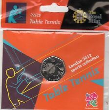 2012 50p OLYMPIC 22/29 TABLE TENNIS COIN HANGING BAG BRILLIANTLY UNCIRCULATED !