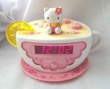 HELLO KITTY PINK TEA CUP DIGITAL ALARM CLOCK RADIO NIGHT LIGHT