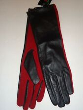 "Ladies Women's Genuine Leather & Wool 13.5"" Long Gloves,Black/Red, M/L"