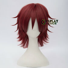 Wine Red  Heat Resistant  Short Layred 30cm Women Men Anime Cosplay Wigs+Cap