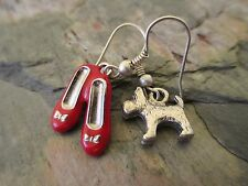 Miss- Matched Dorothy Ruby Red Slippers & Toto Dog Oz Handcrafted Earrings