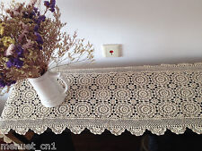 """Hand crochet lace table runner dresser scarf blanket throw piano cover 72"""" long"""