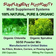 Chlorella & Spirulina Powder Capsules Organic - 250ct-  Not Cheap Pressed Tabs!