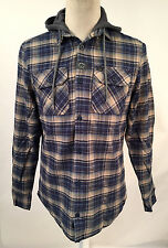 Globe Men's Hooded Flannel Shirt Alford Navy/Green Plaid Size S NEW Light Jacket